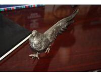 Unique Silver Pheasant Metal Ornament Set