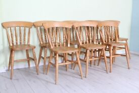 DELIVERY OPTIONS - 8 X SOLID BEECH FARMHOUSE CHAIRS RUSTIC WITH AGE MARKS SOLID