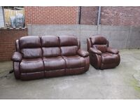 Three Seater Leather Electric Recliner Sofa with Armchair