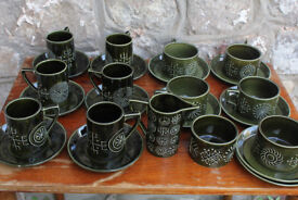 Vintage Portmerrion Totem Tea Set 25 Pieces Coffee Service Portmeirion Green Retro Unusual