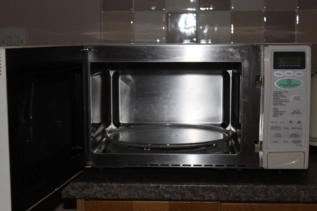 Sharp R 750a Combination Microwave Grill Stainless Steel Interior White Exterior
