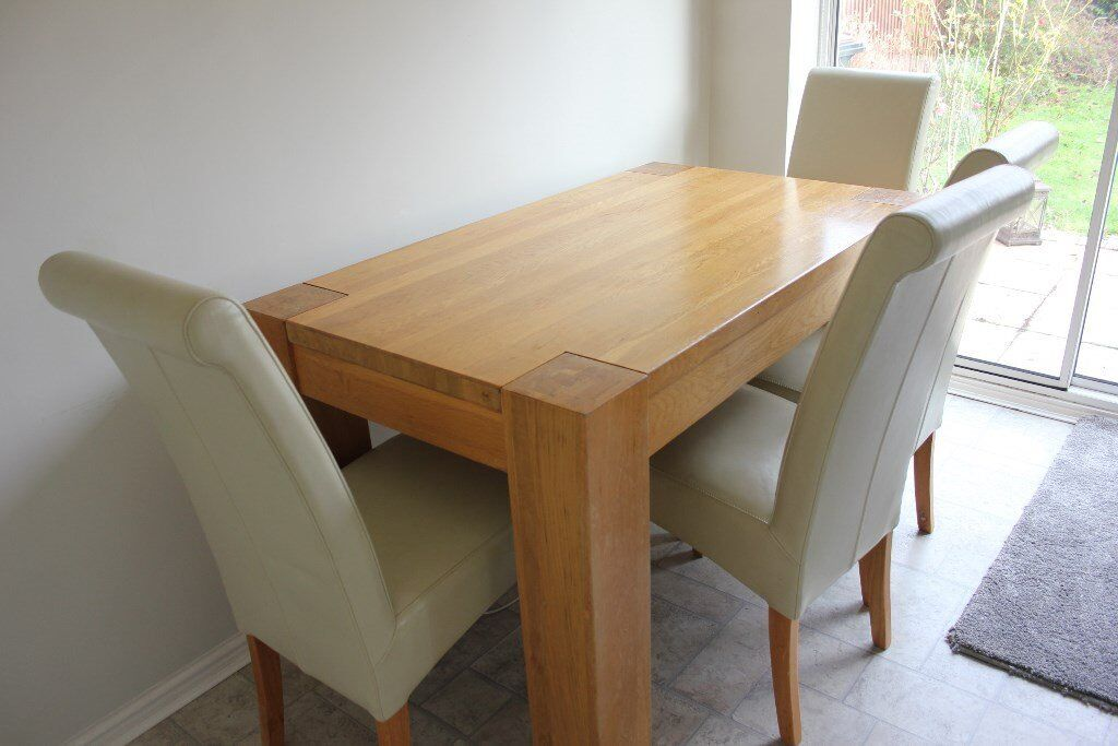 Solid Pine Dining Table 4 Faux Leather Cream Chairs 150 Or Best Offer