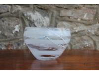 Stunning Vintage Rosenthal Glass Bowl Studio-Line Art Glass 14cm Clear & White German Glass Art