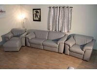 Natuzzi Sensor grey electric 3 seater sofa, electric armchair,standard armchair and footstool