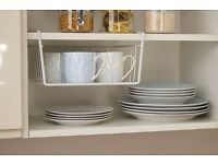 2x Under Shelf or Desk Storage Basket - 30 cm, Chrome