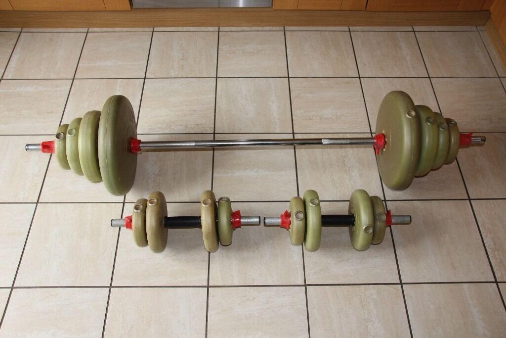 york weights. 56kg york vinyl weights set - barbell and pair of dumbbells / dumbells