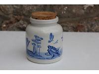Vintage Handpainted Storage Container / Trinket Box Artist Signed Art Animals Fish, Snail, Frog.