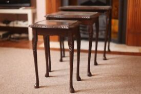 Set of three antique mahogany side tables with glass tops