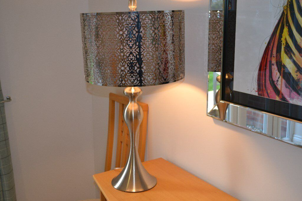 Homesense table lamp finished in brushed steel and includes led bulb homesense table lamp finished in brushed steel and includes led bulb aloadofball Choice Image