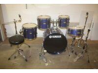Yamaha Stage Custom Advantage Metallic Blue 5 Piece Drum Kit 22in Bass Hardware + Paiste 302 Cymbals