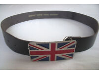 ** NEW ** men's or women's Union Jack buckle & black split leather belt. £8 ovno.