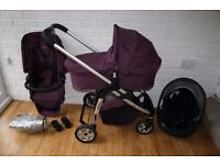 Purple iCandy Cherry pram with carrycot and car seat 3 in 1 (can post)