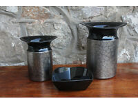 3 pieces of Rosenthal Noir Ceramics. 2 Vases & Trinket Dish. Vase Pin Tray German Pottery