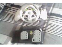Xbox Steering Wheel & 4 Games