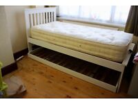 SINGLE BED WITH TRUNDLE GUEST BED & MATTRESS