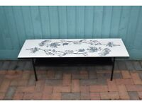 1950'S VINTAGE WHITE FORMICA 'LEAF PATTERN' COFFEE TABLE,RETRO