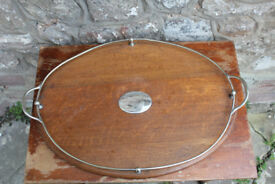 Large Vintage Wood & Silver Plate Serving Tray Downton Abbey Early 1900's Antique 62cm Breakfast