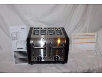 Boxed Dualit Architect 4-slot Toaster in brushed stainless steel trimmed with black gloss. As new.