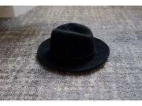 New Black felt hat broad rim hand made by a hatter