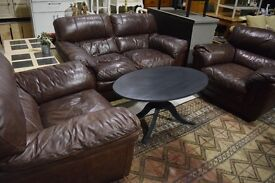 Brown / Tan 2+1+1 leather sofa suite - Carlisle centre - can deliver