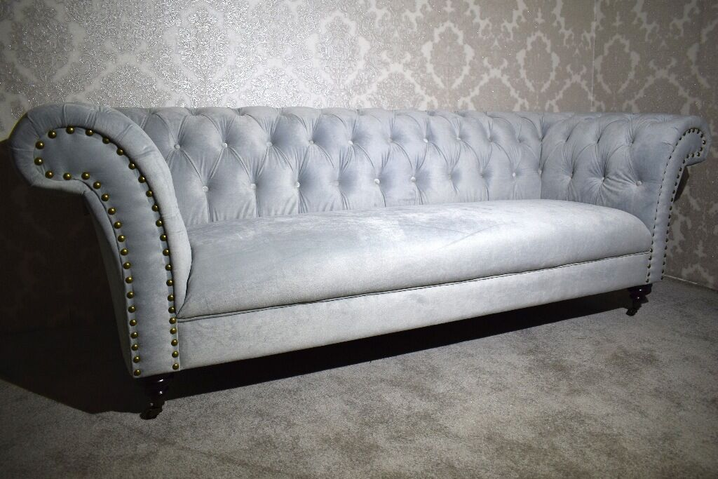Brand New England Style Chesterfield Velvet Fabric Curved 3 2 Seater Sofas Suites Settee in