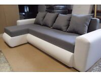 corner sofa bed brand new springs storage faux leather