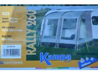 KAMPA RALLY 260 PORCH AWNING WITH POLES / GROUND SHEET AND STORM STRAP