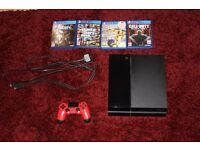 PS4 with 4 games and red controller and turtle beach / WILL TAKE SWAPS