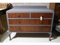 Stunning solid 4 drawer vintage dresser with Queen Anne legs