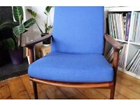 Mid Century Guy Rodgers 'New Yorker' Lounge Chair with Bute Wool.