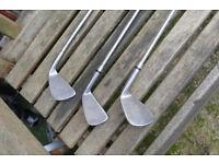 "left-hand wilson sam snead blue ridge pitch wedge & 3 iron & ryder 6 iron 37-40"""