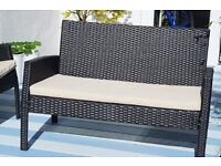 rattan effect garden furniture- sofa, chairs and table