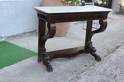 CONSOLE ANTICA IN MOGANO CON PIANO IN MARMO L. cm 115  MOBILE X INGRESSO EP. 800