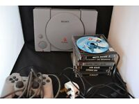 PLAYSTATION 1 CONSOLE WITH 1 PAD AND 6 GAMES