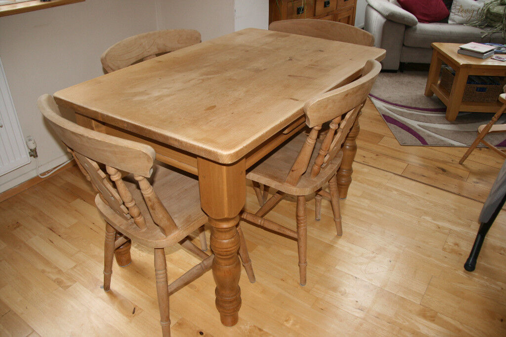 Traditional Solid Pine Kitchen Table with small storage ...