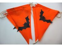 Batty halloween bunting, 3m, made in UK from upcycled/eco textiles