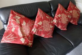 Four Marks And Spencer Red And Gold Cushions