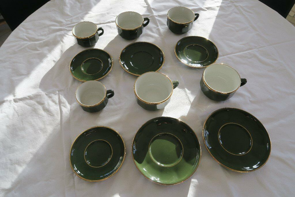 Apilco green with gold rim cups and saucers   in Newmarket, Suffolk ...