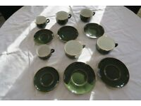 Apilco green with gold rim cups and saucers