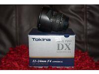 Tokina lens for nikon 12-24 F4 AT-XPRO DX