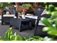 Keter Corfu Rattan Sofa Outdoor Garden Furniture - Graphite with Cream Cushions