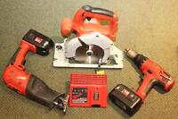 MILWAUKEE 18V SAWZALL/SAW/DRILL/CHARGER/2-BATTERIES