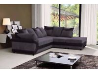 SAME DAY DELIVERY --- DINO JUMBO CORD CORNER OR 3 AND 2 SEATER SOFA--BLACK/GREY OR BROWN--