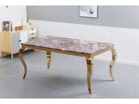 Dining Table in Marble Top - Plush Velvet Chairs - Brand new