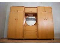 Excellent condition retro mid century teak schreiber large wardrobe drawers mirror