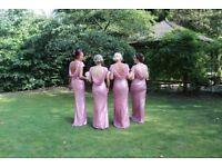 4 x Rose pink sequin bridesmaid dresses