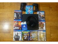 Playstation 4 Bundle - PS4 500GB, 9 Games, 2 Controllers, Gold Headset, £20 Playstation Voucher