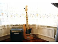 Squier Vintage Modified Jazz Bass V + marshall mg15cdr guitar amp