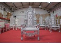 1 x New Silver King Lion Throne Chair Wedding Events Luxury Ornate Carved Furniture Italian Throne