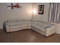 Ex-display Elixir cream leather manual recliner corner sofa